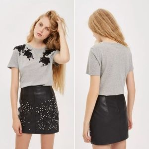 Topshop 3D Floral Applique T-Shirt